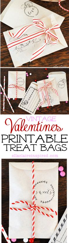 vintage envelopes or treat bags for Valentine's Day - free printable