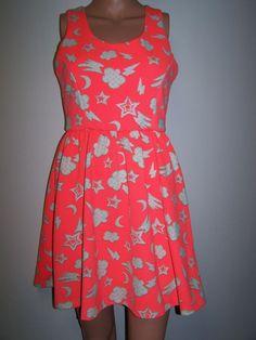L'Amour  Nanette Lepore Size Med Neon Bright Orange Neoprene Dress Sleeveless  #NanetteLeporeLAmour #TeaDress #Casual