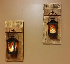 Rustic wood  lantern Candle Holder wood by TeesTransformations