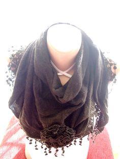 Brown+Knitted+Fabric+Scarf,+Shawl+Scarf+from+bigsweetheart+by+DaWanda.com