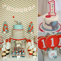Modern Chevron, Elephant and Balloon First Birthday by Oh So Chic Cake pops by Evie and Mallow