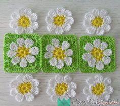 Wie Man Eine Blume Hakelt Crochet Square Blanket, Crochet Quilt, Granny Square Crochet Pattern, Crochet Squares, Crochet Coaster Pattern, Crochet Motif Patterns, Crochet Designs, Crochet Stitches, Crochet Flower Tutorial
