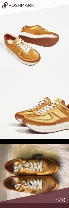 New Zara Satin Platform Gold Sneakers New with tags Zara Shoes Platforms