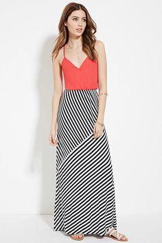 Surplice Striped Maxi Dress #thelatest