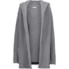 Chinti and Parker Merino wool and cashmere blend hooded cardigan ($348) ❤ liked on Polyvore featuring tops, cardigans, loose cardigan, merino wool cardigan, loose tops, gray cardigan and hooded cardigan