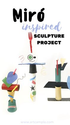 Miró Inspired Sculptures Fine art for kids Kids crafts Joan Miro projects paper crafts recycled art art lessons Sculpture Lessons, Sculpture Projects, Art Sculpture, Metal Sculptures, Abstract Sculpture, Bronze Sculpture, Recycled Art Projects, Projects For Kids, Craft Projects