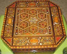 19th C. Syrian Marquetry Inlaid Box Lemon Wood Mother-of-Pearl Ebony Walnut O