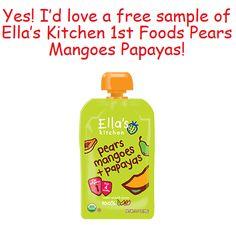 Muestra GRATIS de Ella's Kitchen Pears, Mangoes + Papaya comida para bebés!