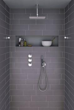 Ideas For Bathroom Remodel Grey And White Shower Niche Grey Bathroom Tiles, Laundry In Bathroom, Grey Bathrooms, Bathroom Renos, Beautiful Bathrooms, Bathroom Interior, Modern Bathroom, Grey Tiles, Bathroom Ideas