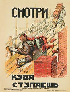 Posters russos para prevenção de acidente de trabalho