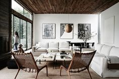 pretty chairs - i'm thinking maybe a coffee table - i think that trunk is going to be too low ... let's use somewhere else! Balanced whites with warm woods