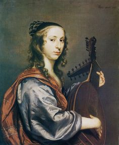 Jan Mijtens - - - A Lady Playing a Lute