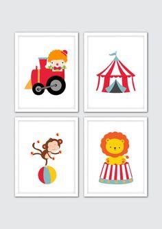 "Circus Nursery Art, Circus Wall Art Print, Circus Decor, Circus Clown on Train, Circus Monkey, Lion, Circus Tent, Cirque Print 8x10"""