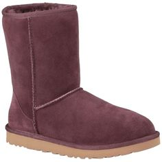 Pre-owned Ugg Australia Ugg Classic Short - New In Box Port Boots ($166) ❤ liked on Polyvore featuring shoes, boots, ankle booties, port, cuffed booties, leather boots, rounded toe boots, short boots and genuine leather boots