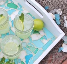 Transform an old thrift store tray into a beautiful and beachy Sea Glass Mosaic Tray with this easy tutorial. Sea Glass Mosaic, Mosaic Tray, Mosaic Tiles, Mosaics, Mosaic Birdbath, Stained Glass, Mosaic Projects, Mosaic Crafts, Craft Projects