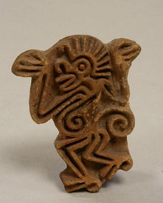 Stamp, Monkey  Date:     14th–early 16th century Geography:     Mexico, Mesoamerica Culture:     Aztec Medium:     Ceramic