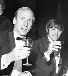 Charlton and George Best raise a glass at the Anglo-American Sporting Club in this 1967 picture