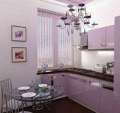 Small pink and brown kitchen. Lavender Kitchen, Purple Kitchen, Kitchen Pantry Cabinets, Kitchen Cabinet Remodel, Small Space Kitchen, Kitchen On A Budget, Small Spaces, Modern Kitchen Interiors, Brown Kitchens