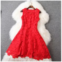 Beaded Lace Dress in Red