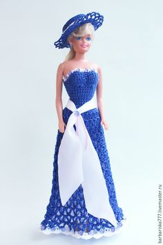 Купить Барышня - голубой, одежда для куклы, платье для Барби, Вязание крючком, подарок, подарок девочке