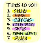 Student Nurse To Do List- sounds like everything I have heard during orientation! Bracing myself