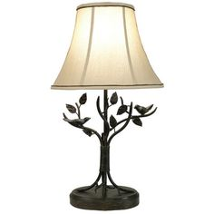"""Style Craft Iron Bird and Leaf 29.5"""" H Table Lamp with Bell Shade & Reviews 