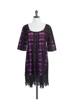 Anna Sui- Purple & Black Plaid Trapeze Dress Sz S/P | Current Boutique