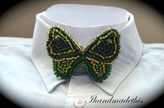Items similar to Sapphire green butterfly bow tie, beads embroidery brooch, beaded butterfly, sapphire green and golden seed beads, women statement bow tie on Etsy Green Butterfly, Beaded Embroidery, Beadwork, Seed Beads, Sapphire, Handmade Jewelry, Brooch, Bows, Tie