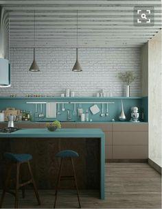 #cocina de estilo #escandinavo en marrón claro y #turquesa, un contraste fresco y divertido. Los tonos neutros en pared y suelo hacen destacar más el turquesa y sus materiales dan más calidez al espacio http://amzn.to/2keVOw4
