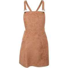 Pilot Zuri Faux Suede Dungaree Dress ($29) ❤ liked on Polyvore featuring dresses, tan brown, tan dress, studded dress, faux suede dress, brown dress and beige dress