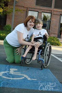 So adorable! This mom and her son have matching disability t-shirts from Fibers.com!