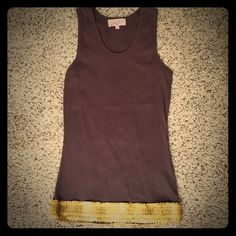 Brown Tank w/ matte gold sequins Size S Brown Tank w/ matte gold sequins Size S.  Excellent condition, only worn a few times. Tops Tank Tops