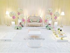 Solemnization dais in a Malay wedding. - Solemnization dais in a Malay wedding. Beach Wedding Aisles, Head Table Wedding, Wedding Stage, Dream Wedding, Wedding Set, Javanese Wedding, Malay Wedding, Lounge Party, Backdrop Design