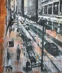 Image result for newspaper cityscape mixed media