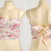 A8 Floral Bow Tie Back Crop Padded Cup Bustier Bra Corset Bralet Tank Top S