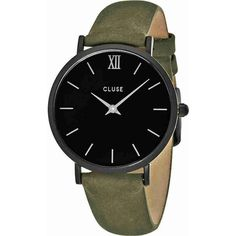 Cluse Minuit Black Dial Olive Green Leather Ladies Watch (€56) ❤ liked on Polyvore featuring jewelry, watches, accessories, bracelets, leather jewelry, roman numeral watches, analog wrist watch, black face watches and leather watches