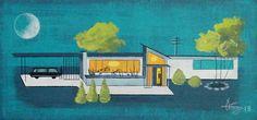 El Gato Gomez Painting Mid Century Modern Retro 1950s Eames Architecture House | eBay