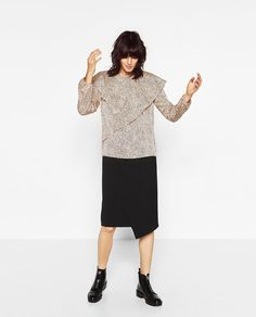 Image 1 of DOUBLE FRILL PRINTED TOP from Zara