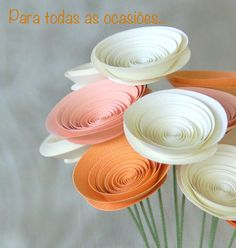 Origami Flowers Discover Peaches & Cream Paper Flowers in medium-size Paper Flowers Tangerine Party Easy Paper Flowers, Diy Flowers, Fabric Flowers, Origami Flowers, Potted Flowers, Diy Paper, Paper Art, Paper Crafts, Diy Fleur
