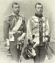 Prince George (later King George V) of England and Tsar Nicholas II of Russia...1890...cousins but look like twins.
