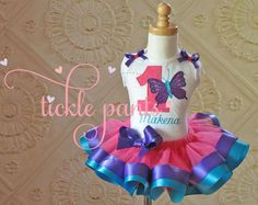 Butterfly Birthday Tutu Outfit Hot pink purple and por TicklePants