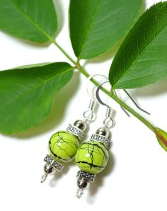 Green Crackle Glass & Pewter Fantasy/Wedding by piratezeta on Etsy, $10.00