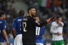 Salvatore Sirigu of Italy gestures during the UEFA EURO 2016 Group E match between Italy and Republic of Ireland at Stade Pierre-Mauroy on June 22, 2016 in Lille, France.
