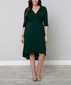 Another great find on #zulily! Green Hi-Low Winona Wrap Dress - Plus by KIYONNA #zulilyfinds