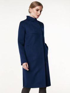 Пальто женское демисезонное цвет черно-синий, Пальтовая ткань, артикул 1018970p10068