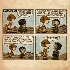 Pig-pen's first Peanuts comic strip. Peanuts Cartoon, Peanuts Snoopy, Peanuts Comics, Snoopy Cartoon, Snoopy Love, Snoopy And Woodstock, Charles Shultz, Charles Brown, Snoopy Comics