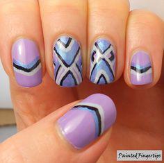 Painted Fingertips | Freehand Chevron Nail Art Chevron Nail Art, Chalkboard Nails, Finger Nail Art, Cool Nail Art, Fun Nails, Nail Polish, Manicures, Beauty Nails, Nail Design
