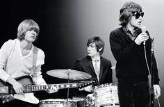The Rolling Stones: Mick Jagger, Brian Jones, and Charlie Watts on the NBC TV series Hullabaloo, New York City, by Bob Bonis