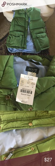 JCrew Vest NWT: Green and blue puff vest. Bought at JCrew Factory for $40. Originally $79. Tiny spots on left side, could be spot treated. J. Crew Factory Jackets & Coats Vests