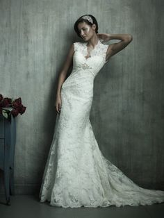 Tulle and Satin V-Neck Neckline A-Line Wedding Dress with silhouette features cap sleeves AC155